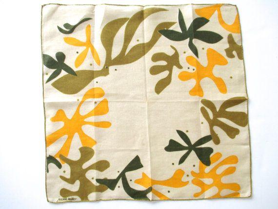 Vintage Abstract Handkerchief Jeanne Miller Matisse at NeatoKeen on Etsy