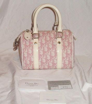 0f84b353797 Authentic Christian Dior Pink White Monogram Boston Bag | Designer ...