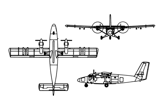 Orthographically projected diagram of the de Havilland