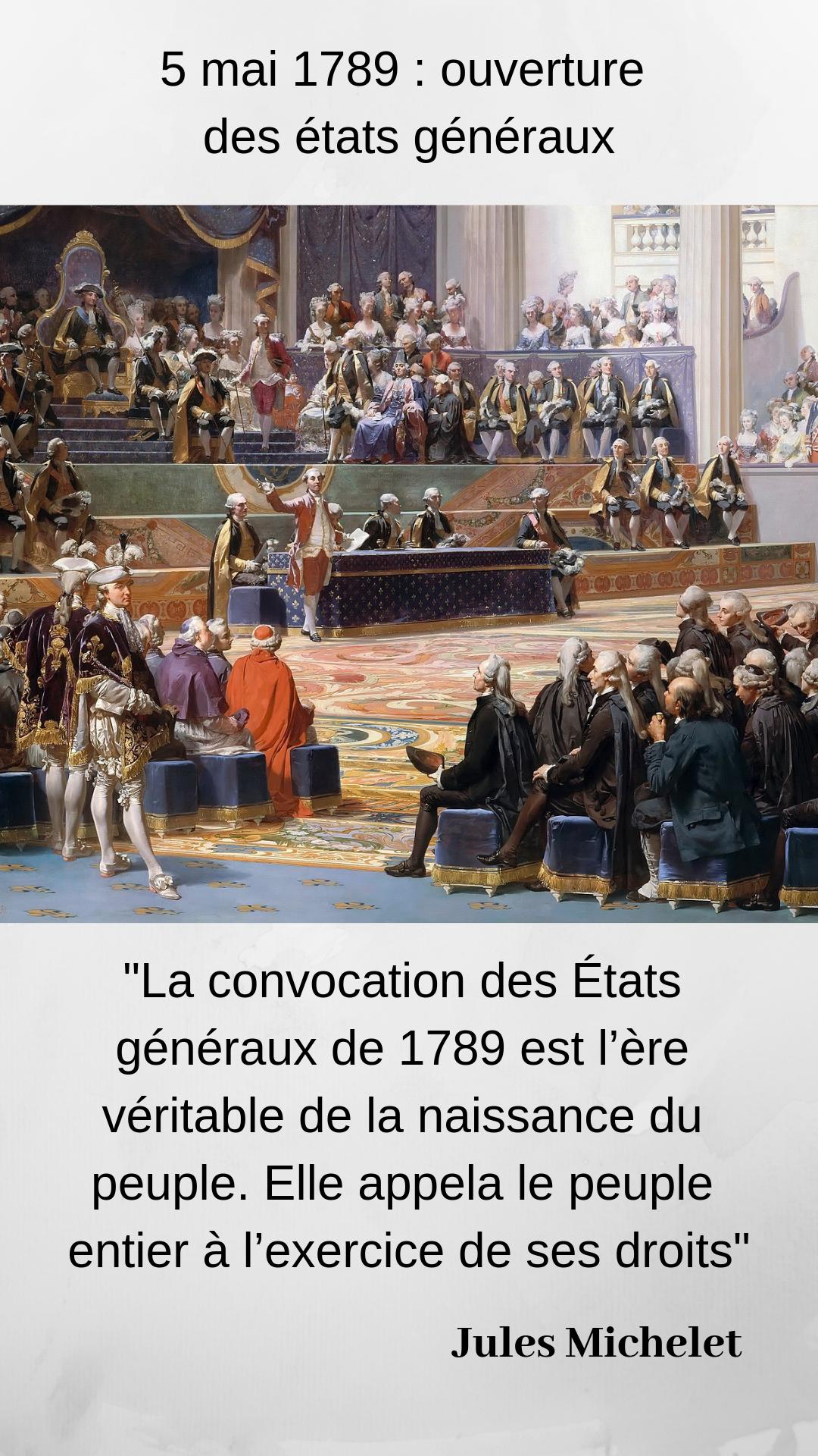 5 Mai 1789 Ouverture Des Etats Generaux Ancien Regime Tiers Etat Revolution Francaise