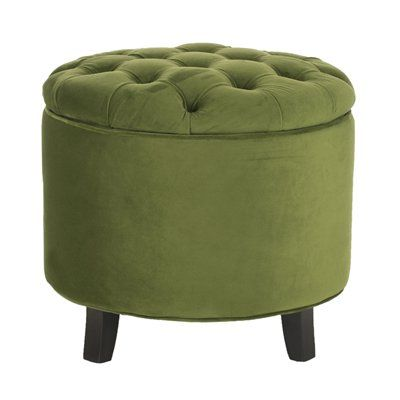Swell Safavieh Ottoman Hud8220 Amelia Tufted Storage Green With Short Links Chair Design For Home Short Linksinfo