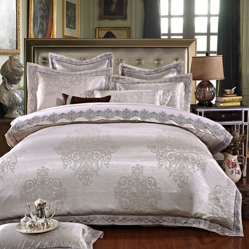 Ivarose Luxury Jacquard Silk Bed Linen Grey Silver Gold Satin