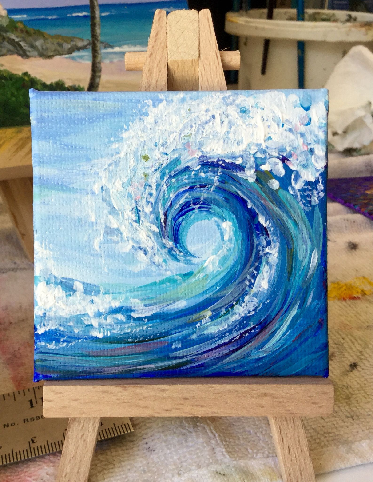 Blue Wave 3x3 Acrylic Canvas Art Painting Painting Art Projects Cute Canvas Paintings