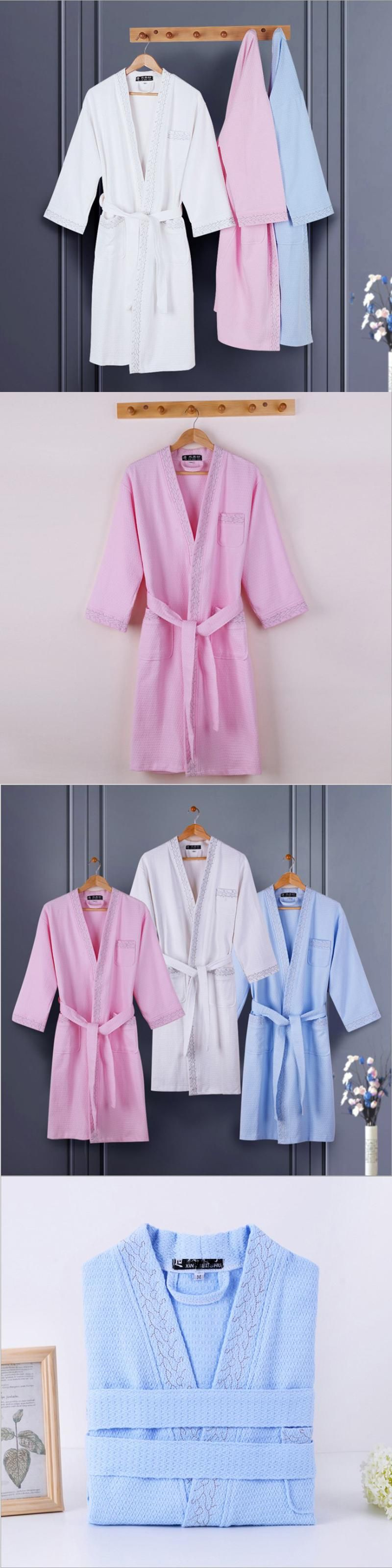 New Men 100% Cotton Summer Long Waffle Bathrobe Women Men Japanese ...