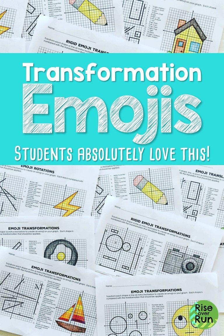 Transformations Practice Emojis Translate Reflect Rotate And Dilate Transformations Math Reflection Math Coordinate Plane Activity [ 1152 x 768 Pixel ]