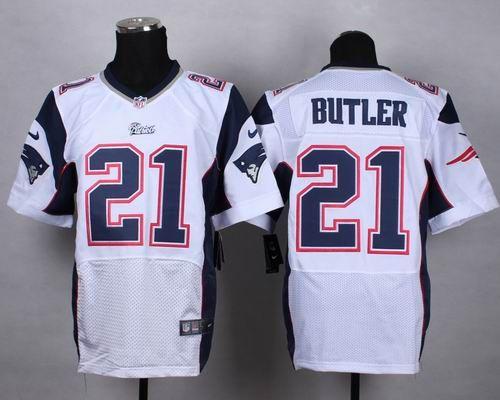 6d10e317e Nike New England Patriots  21 Malcolm Butler White Elite Jerseys   22.5