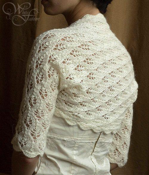 BRIDAL BOLERO wedding shrug sleeves 3/4 leaf pattern lace knitted ...