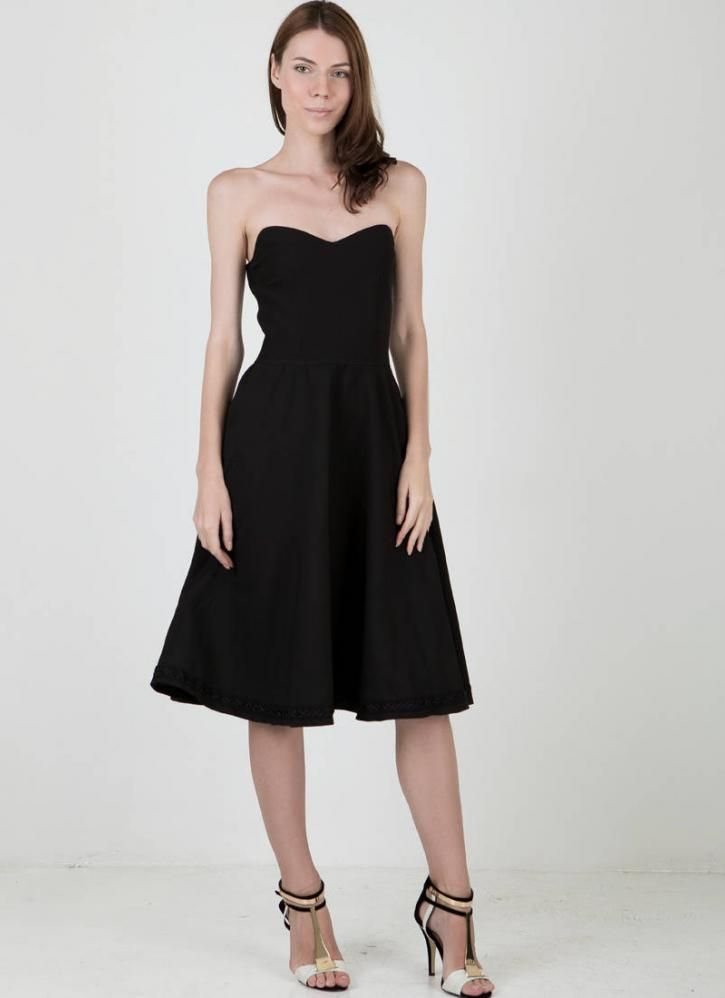 Black cocktail dress black strapless fit and flare