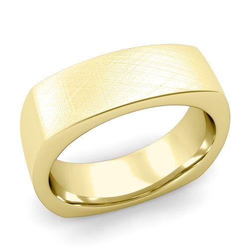 Square Comfort Fit Wedding Ring 18K Gold Brushed Band, 7mm