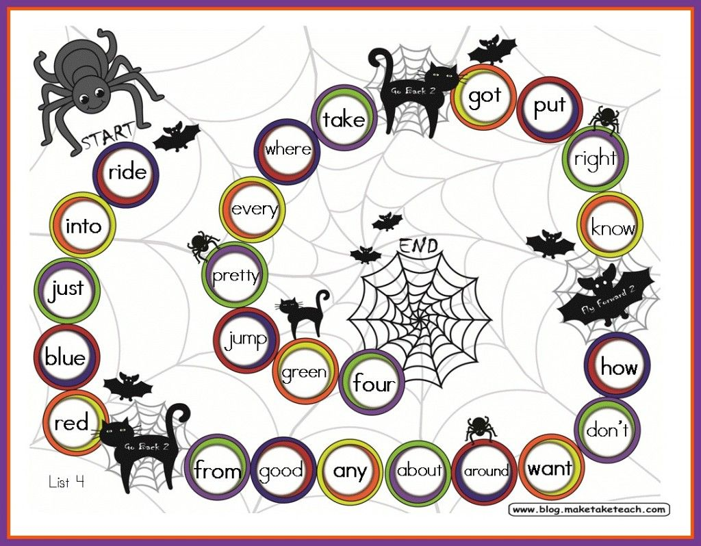 free halloween themed sight word game board great for literacy centers or small group instruction - Halloween Word Game