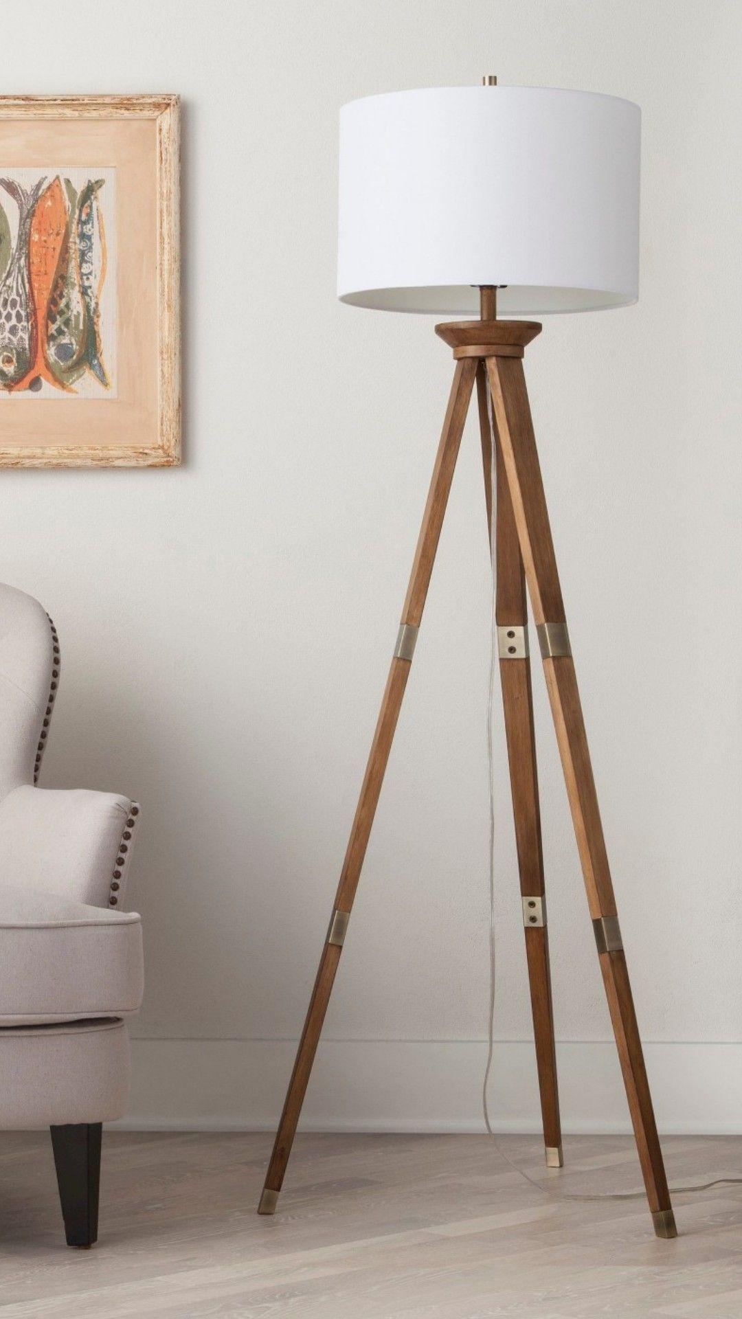 Oak Wood Tripod Floor Lamp Brass Includes Energy Efficient