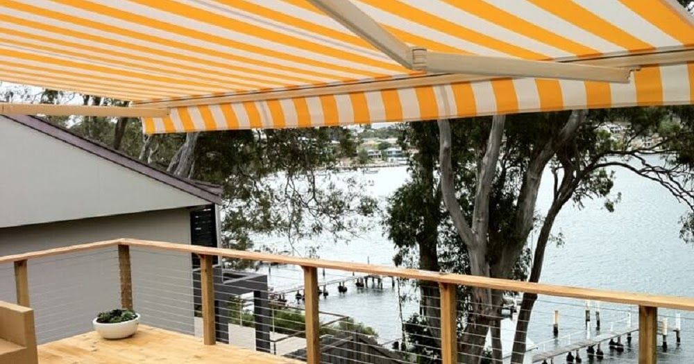 Retractable folding arm awning is ideal to cover a patio deck
