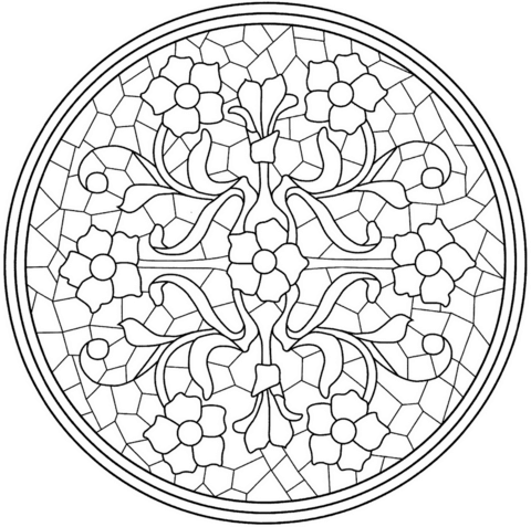 Ausmalbild: Mandala mit Blumen-Mosaik-Fliesen. Kategorien: Blumen ...