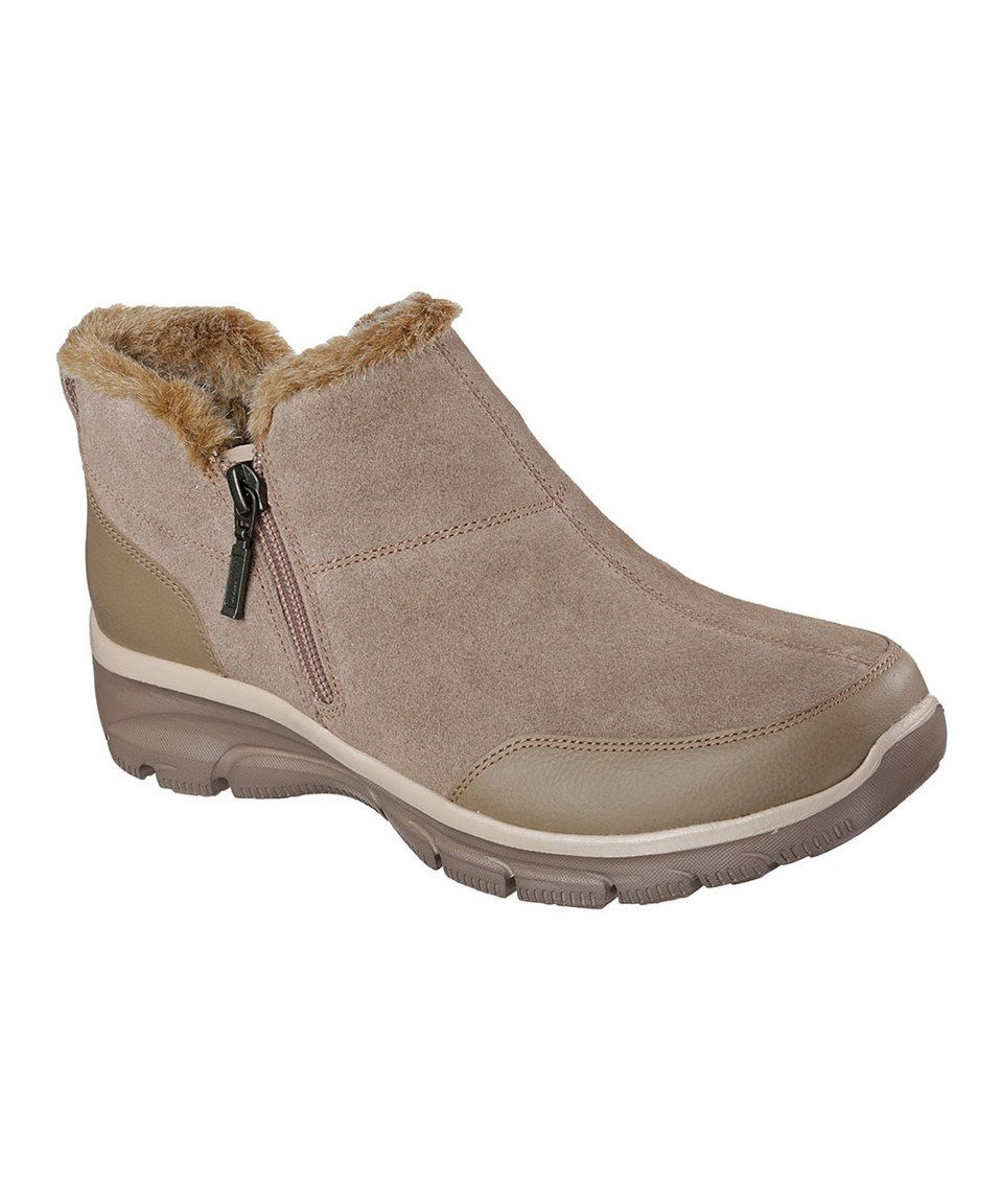 This Skechers Taupe Relaxed Fit Suede Easy Going Zip It Boot By