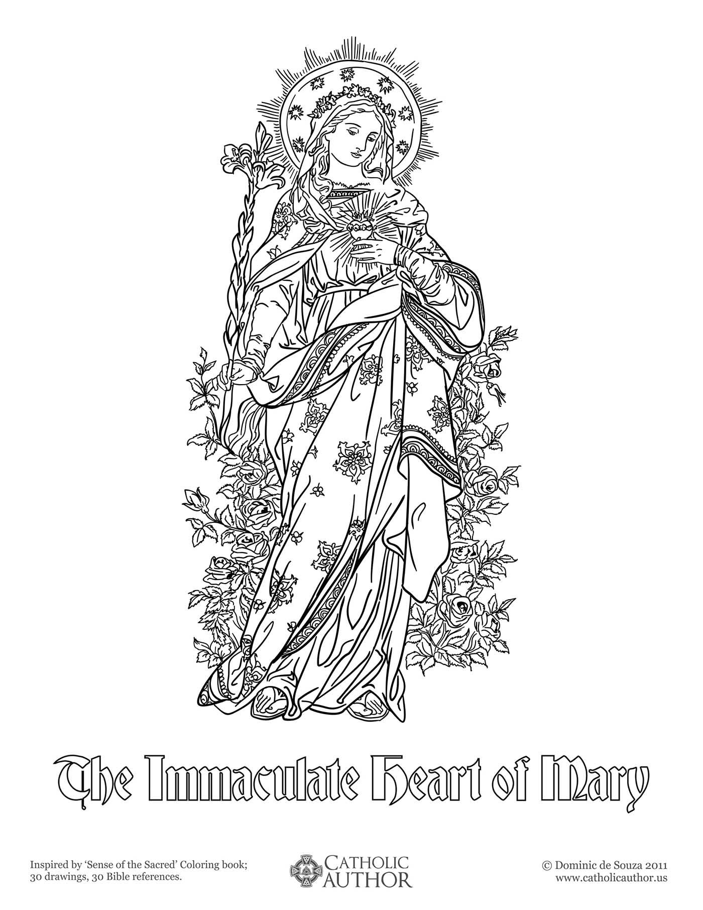 Free coloring pages virgin mary - The Immaculate Heart Of Mary Free Hand Drawn Catholic Coloring Pictures