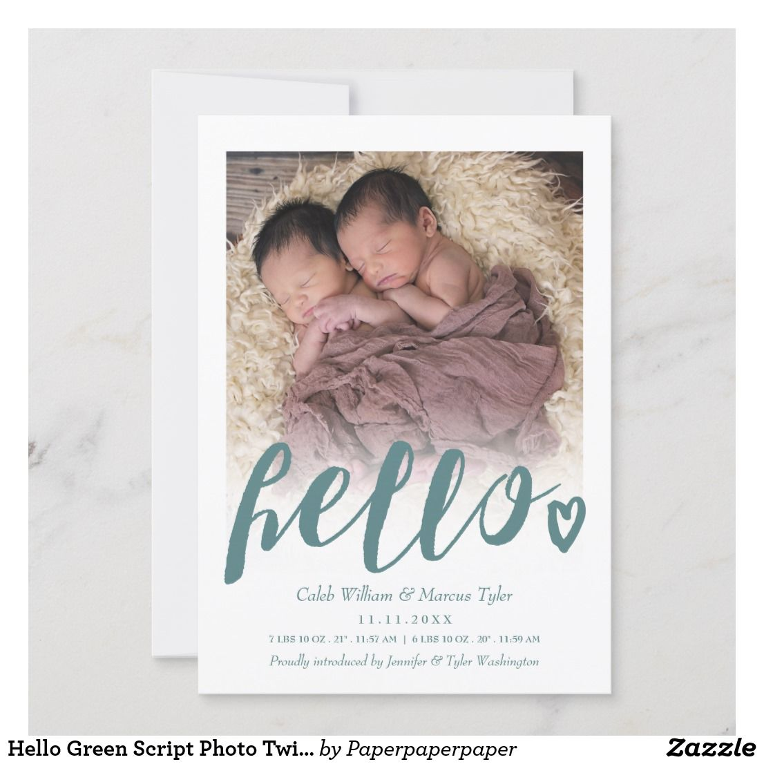 hello green script photo twins baby announcement