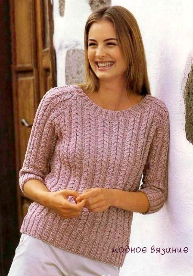 Пуловер рельефными косами -  Модное вязание