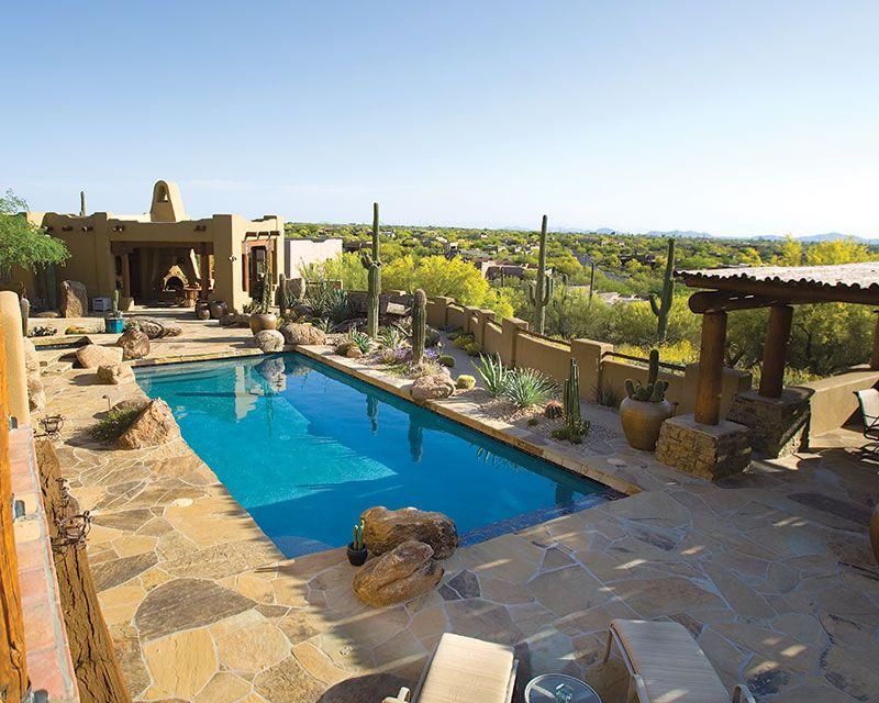 Rectangular Pool For The Desert Rectangular Pool Backyard Pool Desert Backyard