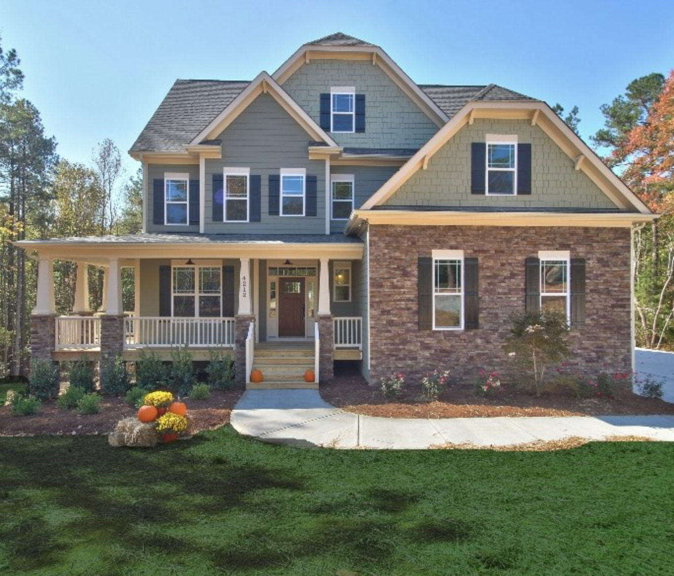 Lovely Green Exterior For A Capitol City Homes Raleigh Nc New Home Builders Community Design