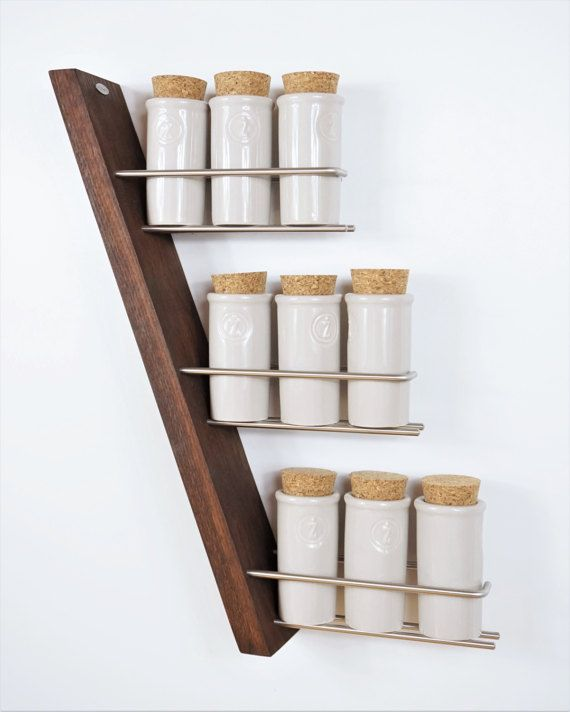 Woodworking Plans For Kitchen Spice Rack: Wooden Spice Rack Stainless Steel Oak Exclusive Solid Wood