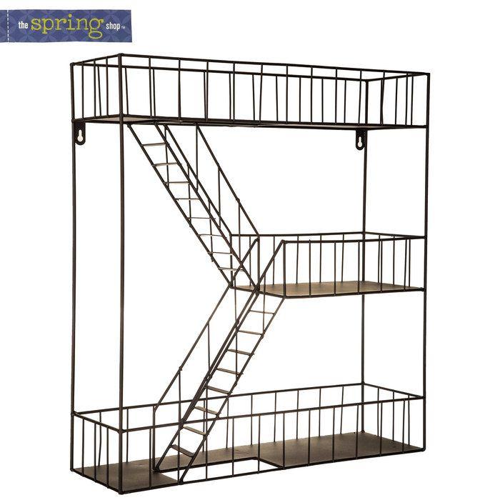 fire escape metal wall shelf