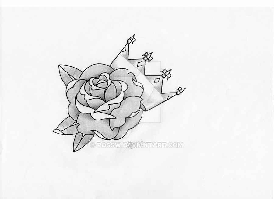 Rose Crown By Rossw Deviantart Com On Deviantart Crown Tattoo Crown Tattoo Design Rose Crown
