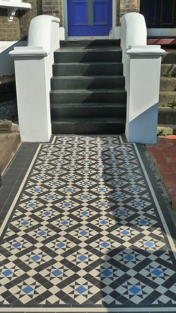 Image from http://flowergardengirl.co.uk/wp-content/uploads/2013/09/black-white-and-blue-victorian-mosaic-tile-path-front-garden-dulwich-london.jpg.