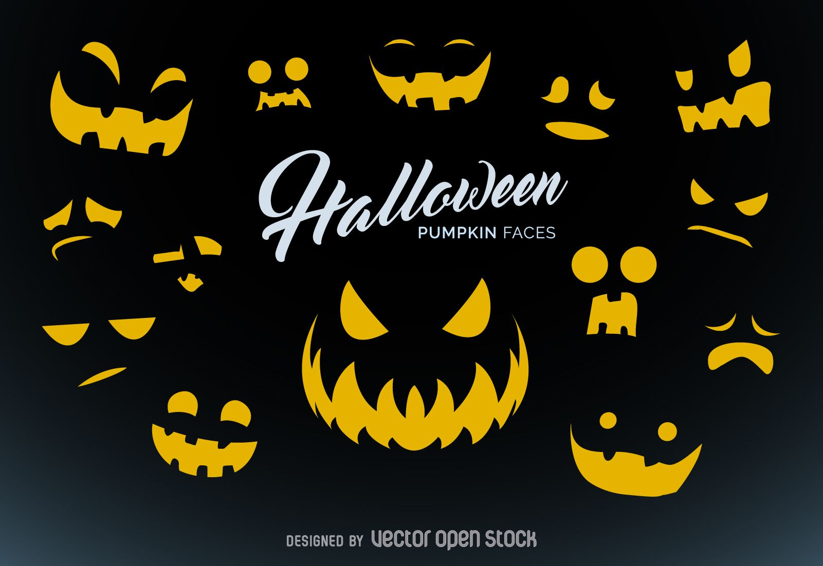 Pumpkin carving templates for Halloween. Set of spooky expressions ...
