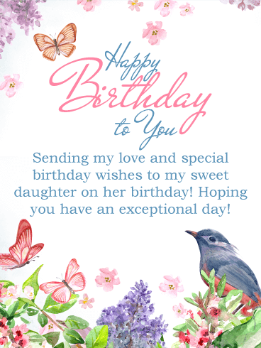 Sending My Love Happy Birthday Card For Daughter Birthday Greeting Cards By Davia Birthday Wishes For Daughter Birthday Greetings For Daughter Birthday Wishes Messages