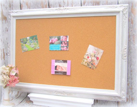 LARGE FrAMED CORK BOARD Memo Board White Shabby Chic Home Message Board  French Country Kitchen Home