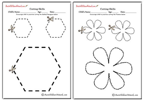 Cutting Shapes Worksheets, Cutting Activity, Cutting