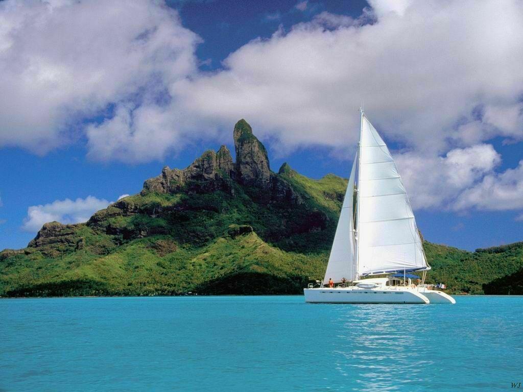 Landscape - Bora Bora Lagoon with Catamaran - French Polynesia.jpg ...