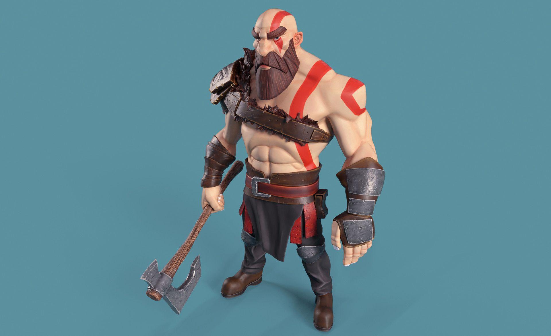 Kratos Cartoon By Guillermo Guillen Cartoon 3d