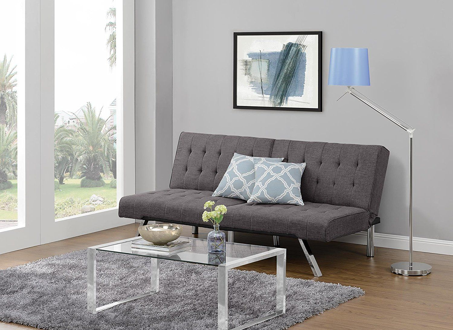 Amazon Sofa Bed Grey Amazon Dhp Emily Futon Sofa Bed Modern Convertible Couch