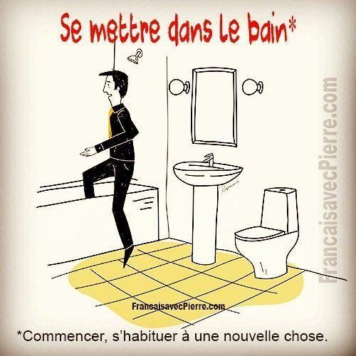Expression française : Se mettre dans le bain = commencer, s ...