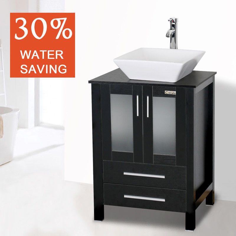 27++ 24 bathroom vanity single cabinet counter top vessel sink bowl custom