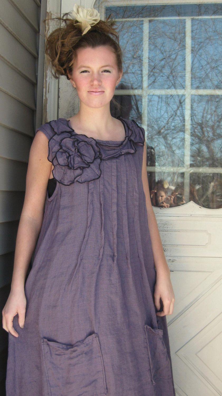 Purple Linen Petal Neck Smock Dress XS by sarahclemensclothing, $159.00
