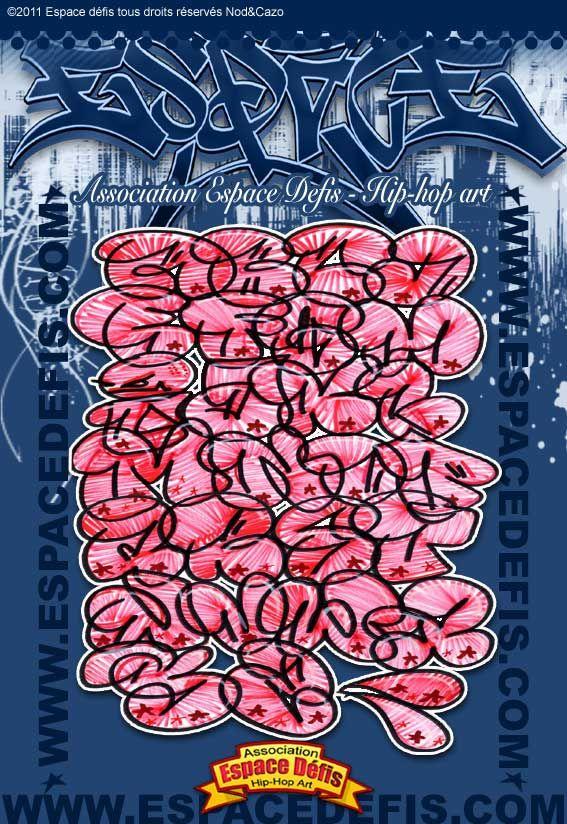 11 , Alphabet graffiti bubble avec remplissage effet électrique (zig,zag) ,  Vous