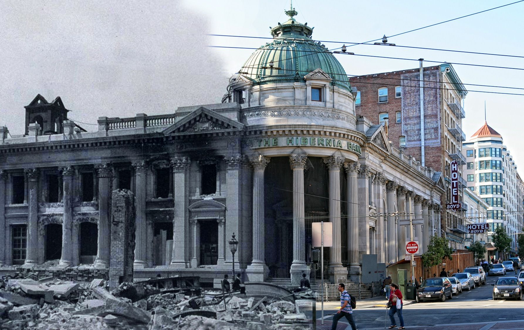 San Francisco Earthquake Photos Blended Into Present Day. Pedestrians cross Jones St towards a pile of rubble on Market Street. The Hibernia Bank building is burned out, but still standing strong.