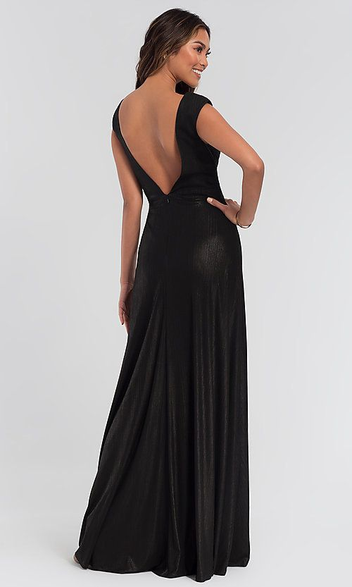 0da255e9bf Image of v-neck long metallic Kleinfeld bridesmaid dress. Style  KL-200064  Detail Image 4