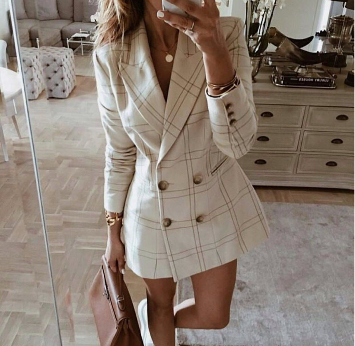 Model 23801 179 90 Ceket Elbise Beden S M L Kumas Atlas Urun Boyu Renk Tas Kargo Blazer Elbise Sokak Stili Stil Kiyafetler