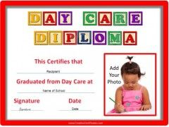 Day care diploma childrens certificates pinterest preschool day care diploma yelopaper Gallery