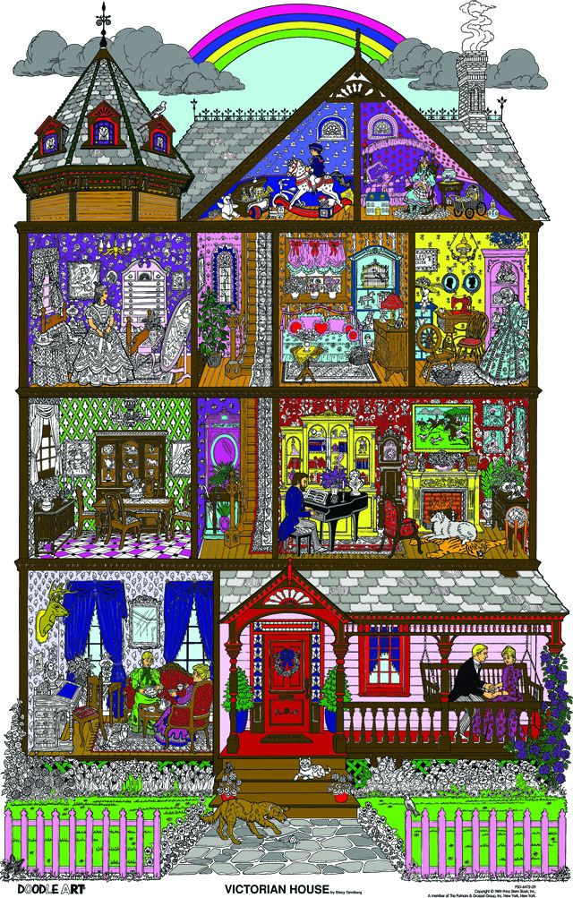Large Coloring Posters in Tubes | Doodle Art Victorian House ...