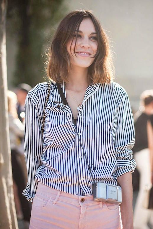 6f8f4e35 Le Fashion Blog 25 Ways To Wear A Striped Button Down Shirt Alexa Chung  Pink Jeans Via Vanessa Jackman Denim