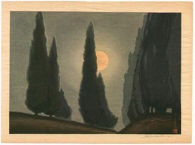 Urushibara Mokuchu, Trees in Moonlight, 1935