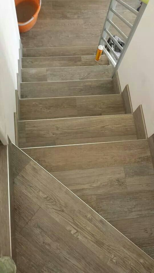 Wood Look Tiles Stairs Stairs In 2019 Tile Stairs