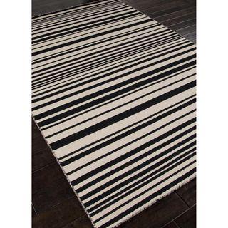 Handmade Flat Weave Stripe Pattern Gray/ Black Rug (10' x 14') | Overstock.com Shopping - Great Deals on JRCPL 7x9 - 10x14 Rugs