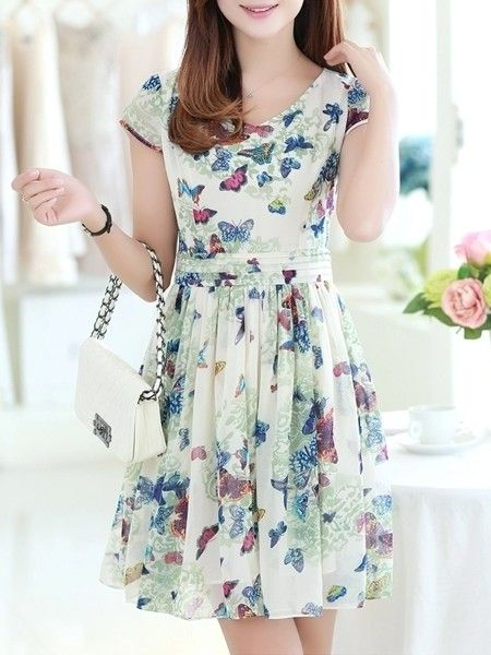 Sparkling Round Neck Chiffon Floral Printed Skater-dress Skater Dresses from fashionmia.com