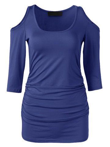 Women Casual Cold Shoulder O-neck Bodycon T-shirt