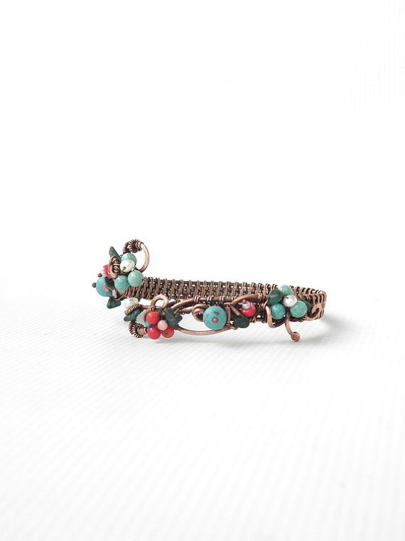 Floral gemstones Bracelet, blossom bangle with turquoise and coral flowers, floral turquoise jewelry, made for Mom Mother day